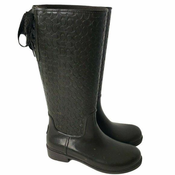 Coach Signature Rain Boots Sparkle Laced Rubber